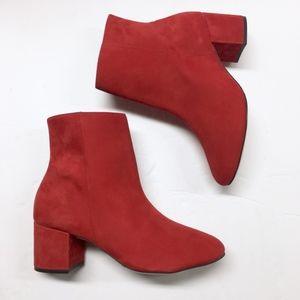 SCHUTZ Lupe Scarlet Suede Ankle Boots Block Heel